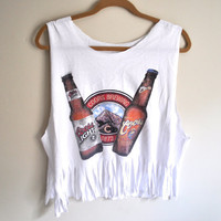 "cropped & fringed ""coors"" beer tank"