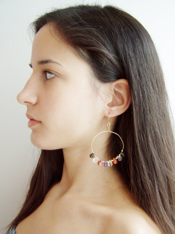 Drop earrings with colourful gem stones