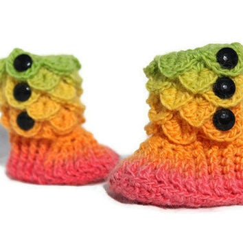 Crochet Crocodile 0-6 Month Baby Girl Slipper Booties in Rainbow Colors, Ready To Ship