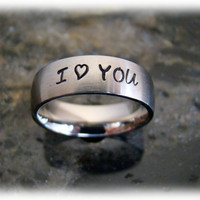 Hand Stamped Comfort Fit 6mm Matte Ring with Name on It