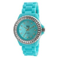 TKO ORLOGI Women's TK608-TQ Ceramix-Ice Turquoise Acrylic Crystallized Watch