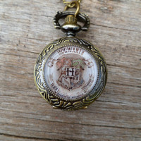 Semester at Hogwarts...Antique gold Hogwart&#x27;s crest.... emblem pocket watch necklace...Harry Potter