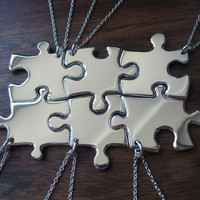 6 Puzzle Piece Pendant Necklaces Argentium Silver