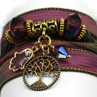 Hand Dyed Silk Wrap Bracelet - Dragon's Breath, Antique Brass Tree of Life,  Hand Enameled Hamsa, and Amethyst Swarovski Crystals