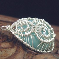 Fancy Wire Wrapped Pendant, Sterling, Fine Silver, Blue Amazonite