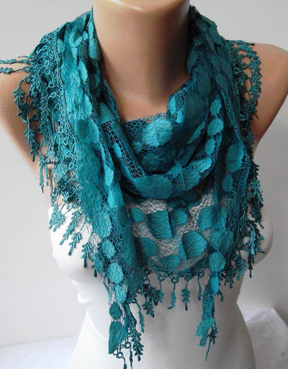 Turqouise Blue and Laced Fabric Scarf  with the Same Color Trim Edge
