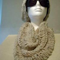 Hand Knitted Aran Fleck Lacy Cowl by FourSeasons on Zibbet