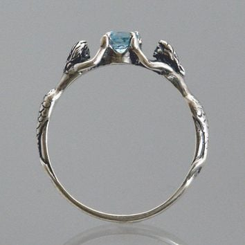 Two Mermaids Ring with Blue Topaz or Other Stone