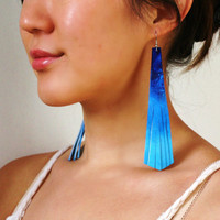 Waterfall Blue leather fringed and handpainted long earrings