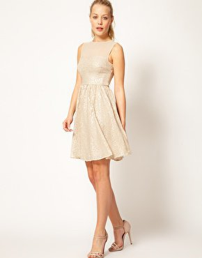 Warehouse Sequin Fit & Flare Dress at asos.com