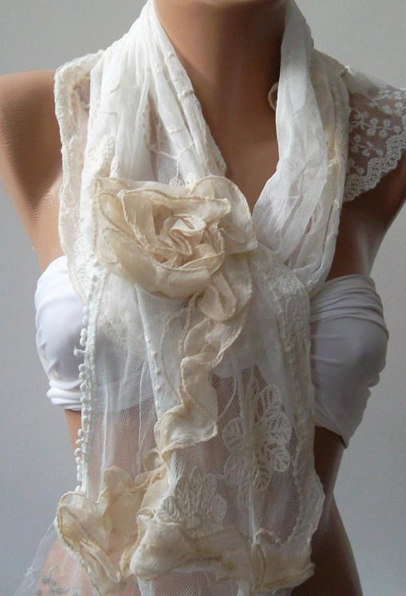 Pearl White - Elegance Shawl -- Scarf with Lace Edge---
