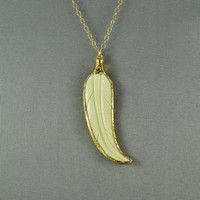 White Buffalo Horn Feather Necklace, 24K Gold Trim, Modern, Stunning, Gorgeous, Elegant, Everyday Wear Jewelry