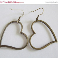 ON SALE Antique Bronze Heart Earrings