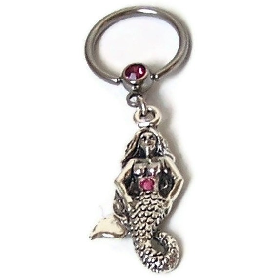 Mermaid Charm, Pink Gem, Captive Bead Ring Piercing, Antiqued Sterling Silver Plated Pewter