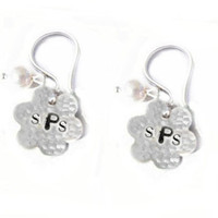 Hammered Flower Earrings Hand Stamped Sterling Silver Pearl Bead Charm Jewelry wedding birthday