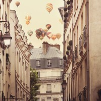 Paris photograph - Paris is a feeling -  Hot air balloons over romantic Paris street - Surreal Fine art travel photography