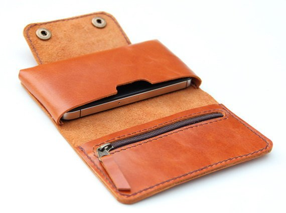 Leather iPhone wallet case in Orange Brown -  with zipper and cards slot