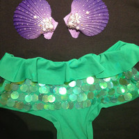 Handmade The Little Mermaid Shell Sequins Costume / bikini