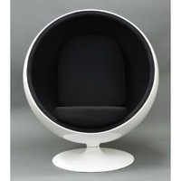 Amazon.com: Eero Aarnio Ball Chair With Black Interior - Ships In 24 Hours With Money Back Guarantee!: Home & Garden