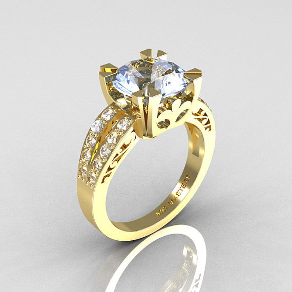 Modern Vintage 14K Yellow Gold 3.0 Carat Aquamarine Diamond Solitaire Ring R102-14KYGDAQ