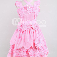 Classic Pink Sleeveless Bow Cotton Lolita Dress -  Milanoo.com