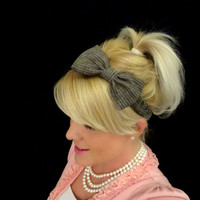 Black and cream pinstipe linen bow headband for adult/kids
