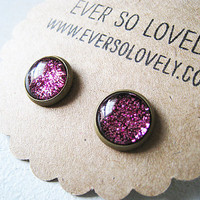 petite red garnet shimmer earrings - handmade sparkly metallic nickel free small post earrings