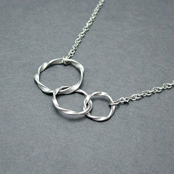 linked circle necklace three circle from