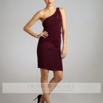 Burgundy One Shoulder Short/Mini Silk Drapes Column Evening Dress PDSVEWD019_PDSa