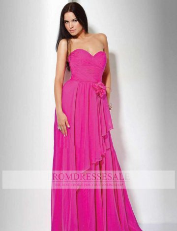 Fuchsia Sweetheart Floor Length Chiffon Hand Made Flower Empire Evening Dress PDSVEWD016_PDSa