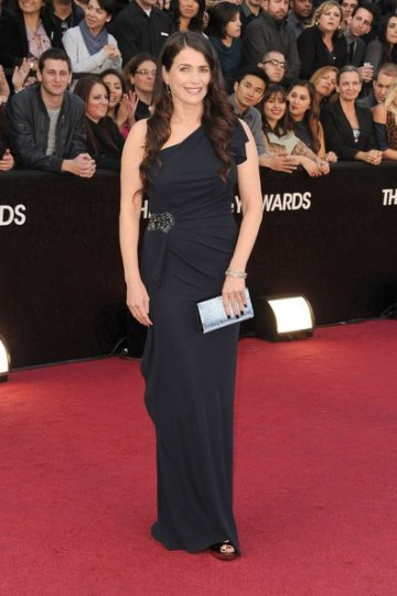 Julie Ormond Midnight Column One-shoulder Floor Length 84th Oscar Dress with Beads