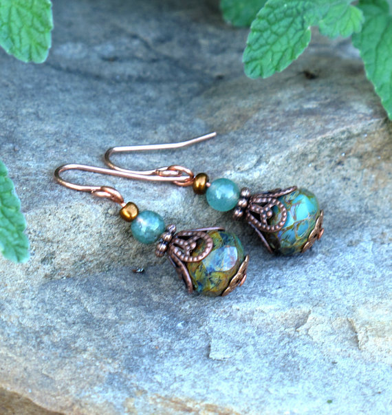 Green beaded earrings - mossy faceted glass &amp; copper