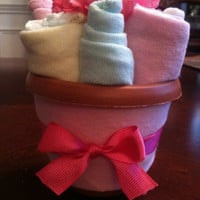 Baby Shower Gift Set Centerpiece Diapers and Washcloths Flower Pot