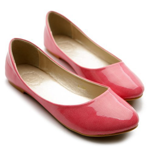 Ollio Womens Ballet Flats Loafers Basic Light Comfort Low Heels Enamel Multi Colored Shoes