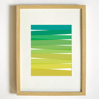 Green Ombre Wall Decor - 8x10 Art Print - Home, Decorative