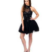 Black Halter Embroidered Tulle & Sequin Short Dress Homecoming 2014