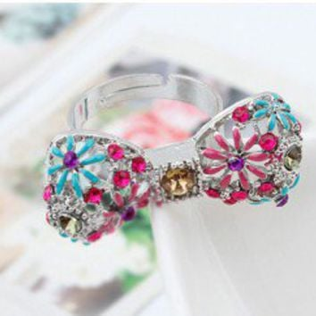Crystal Bow Tie Statement Ring | LilyFair Jewelry