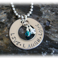 Hand Stamped Stainless Steel Washer Necklace with Name on It