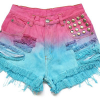 Studded high waisted jean shorts XXS