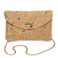 Adorable Multicolored Clutch - Brown Purse - Vegan Purse - $42.00