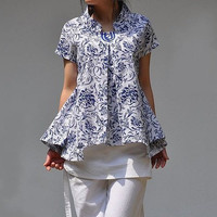 Summer shirts /stand-up collar linen pleated shirt