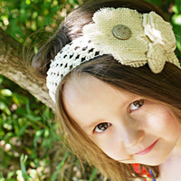 Burlap Cream Colored headband for young girls