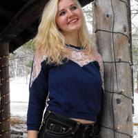 Recycled Navy Blue Sweatshirt With Pink Lace