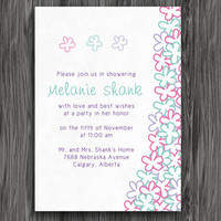 Purple, Teal and Pink Flowers Customizable Printable Bridal Shower Invite
