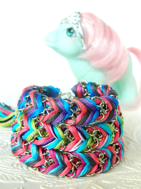 My Little Pony Tails Collection - Limited Edition Friendship Bracelets - Choose One - Turquoise or Clear Iridescent Crystal Heart Charm