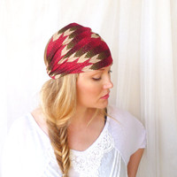 Chevron Headband Hairwrap  turban red green womens bohemian summer fashion