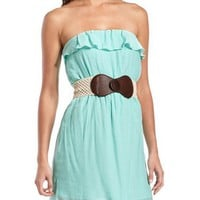 Belted Ruffle Tube Dress