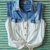 Bleached Denim Top Studded Jean Shirt Denim Jean Vest Bleached Button Down Top