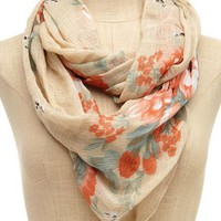 Floral Gauze Infinity Scarf