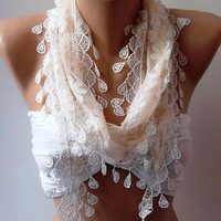 Elegance  Shawl // Scarf with Lacy Edge...
